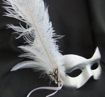 Burlesque style silver butterfly feather mask